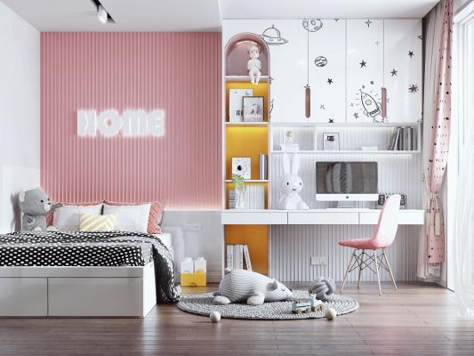 现代女孩房 书桌 书柜 儿童床