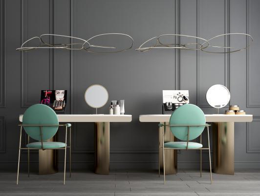 现代轻奢梳妆台 凳子 化妆品 吊灯