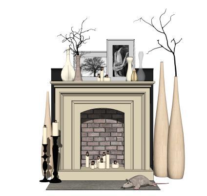 欧式风格装饰柜壁炉