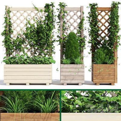 现代木制花架 篱笆 盆栽