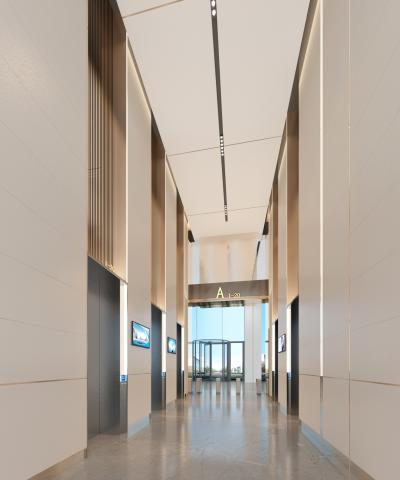 現代辦公樓電梯廳 大廳 閘門