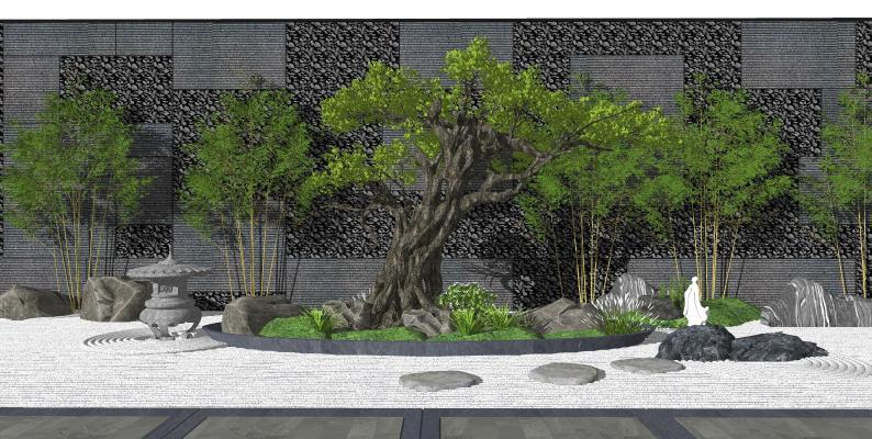 新中式庭院景观 景观树 松树石头