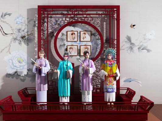 中式京剧戏曲 人物戏台 花格隔断