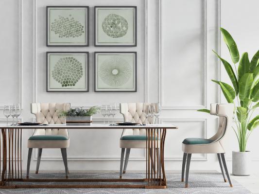 简欧餐厅 餐桌 餐椅