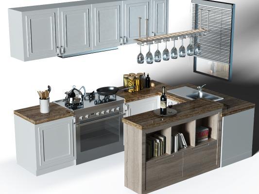 現代廚房櫥柜 廚具 窗戶
