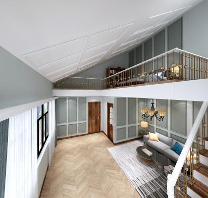 美式复式客厅 阁楼