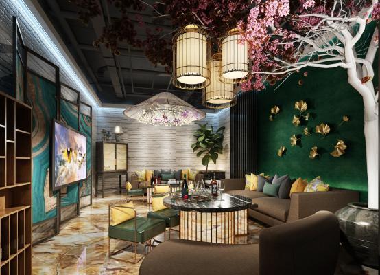 新中式ktv 唱歌 酒吧 沙发 点唱机