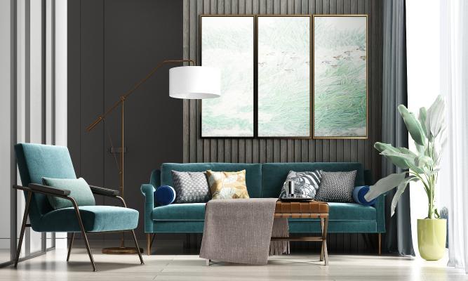 现代风格组合沙发 茶几 饰品