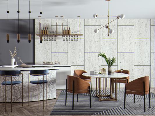 现代餐桌椅 吧椅组合 吧台 吧椅