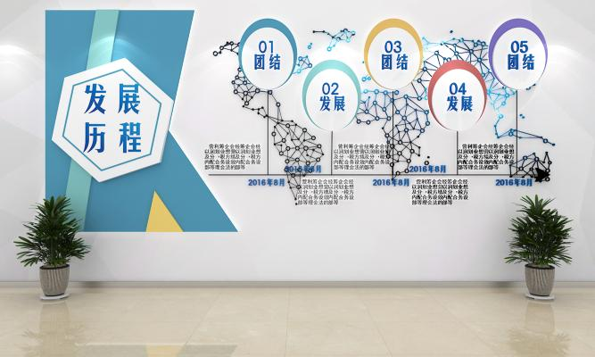 现代文化墙 展厅文化墙 企业发展历程