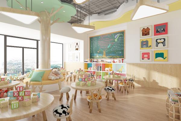 现代幼儿园 教室 书柜 桌椅
