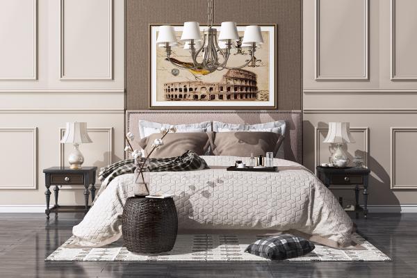 美式双人床组合 床头柜 吊灯