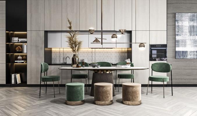 現代轻奢餐桌椅
