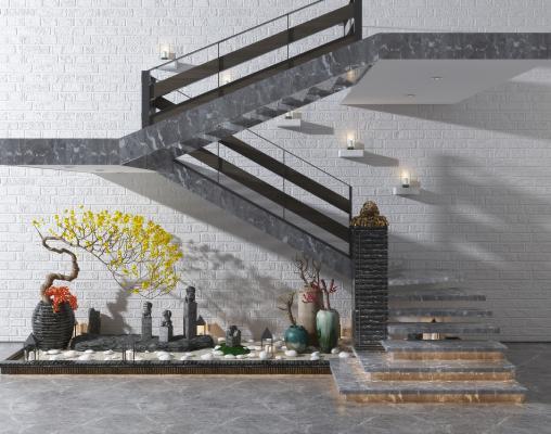 新中式楼梯 景观小品