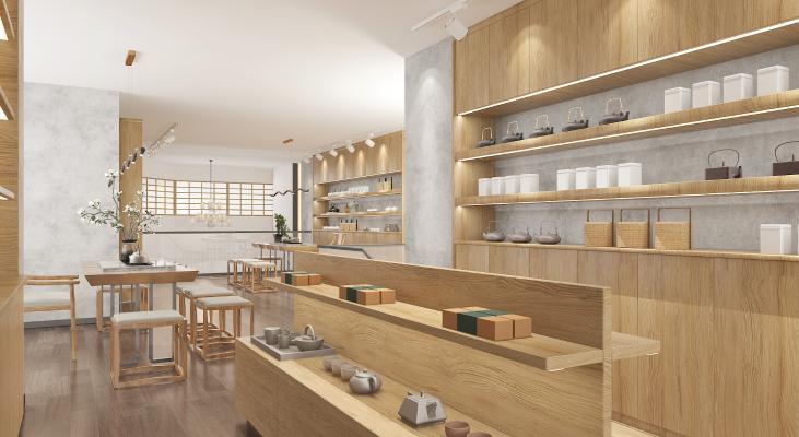 新中式茶楼 吊灯 桌椅