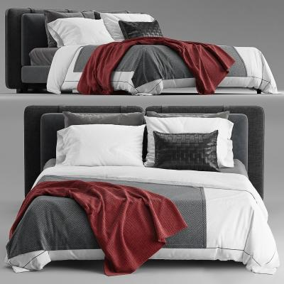 Minotti现代布艺双人床 枕头床品 毯子