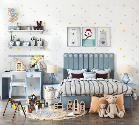现代儿童床组合 书桌椅 玩具装饰摆件