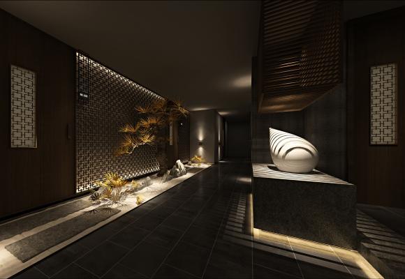 新中式spa会所 过道 端景 松树