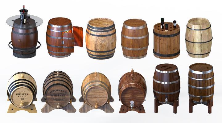 现代啤酒木桶 橡木酒桶 扎啤桶