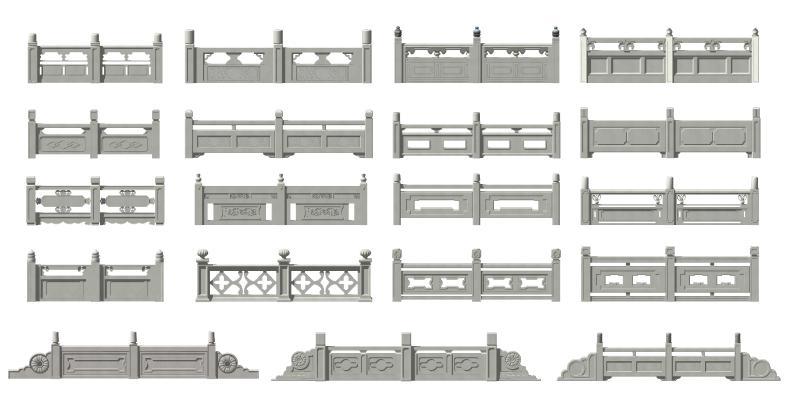 中式栏杆 栏杆 护栏