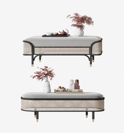 新中式床尾凳组合