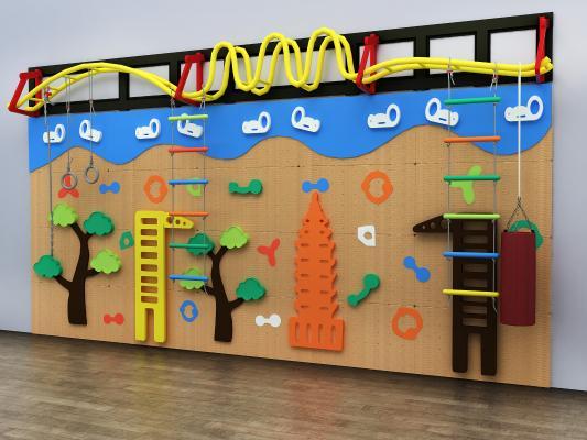 现代儿童攀岩墙 爬梯 树