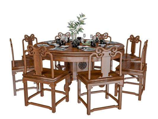 中式餐桌椅组合 餐具 绿植