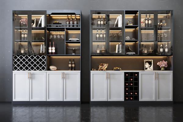 现代风格酒柜组合 酒瓶 装饰品