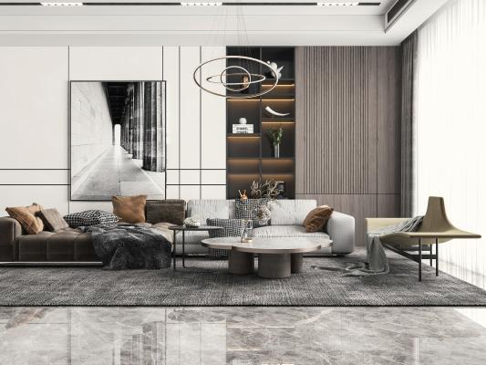 现代客厅 多人沙发 转角沙发
