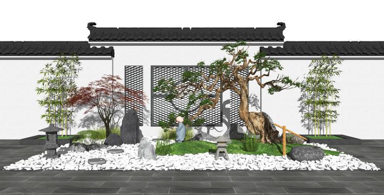 新中式庭院景观小品 庭院景观 景观树 石头 假山