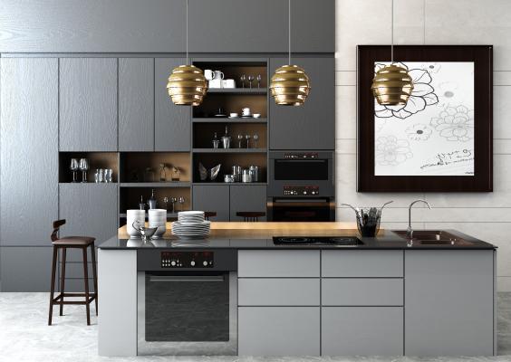 现代开放厨房 壁柜 导台 吧椅