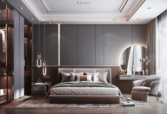现代风格卧室 双人床 床头柜