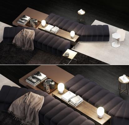 现代Minotti 沙发凳茶几组合
