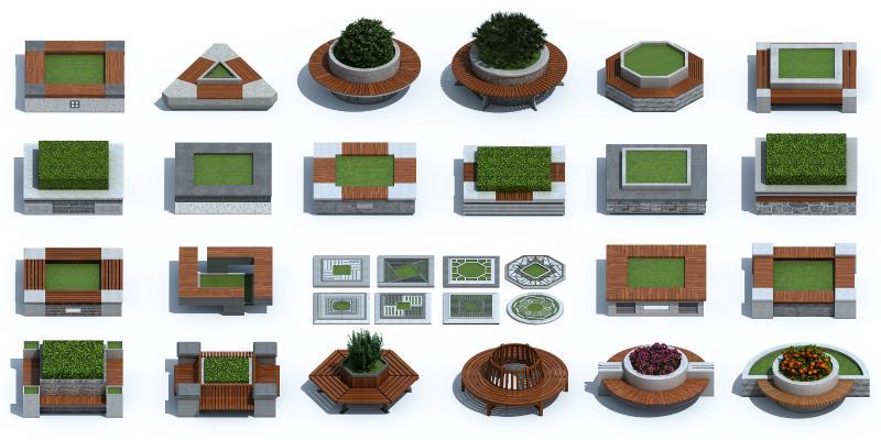 新中式树池 花坛 座椅