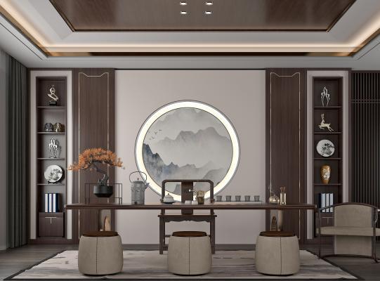 新中式茶室 茶桌 摆件