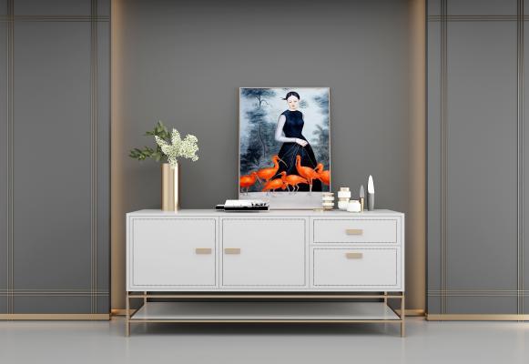 现代风格装饰柜架 挂画组合
