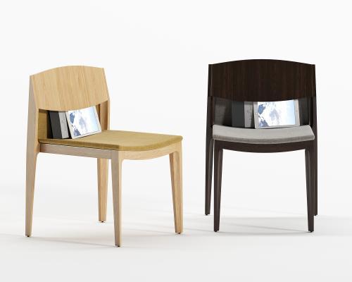 现代实木单椅