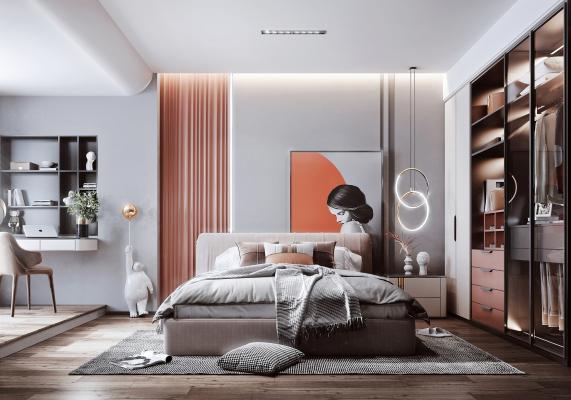 现代风格卧室 床 床头柜