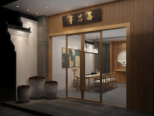 中式茶叶店 门头 屋檐