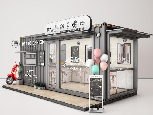 工业风咖啡厅 集装箱 快餐店 甜品店