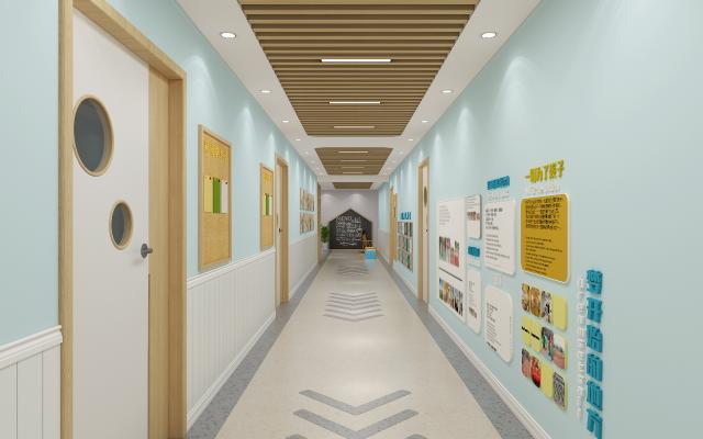 现代幼儿园走廊 吊顶 黑板墙