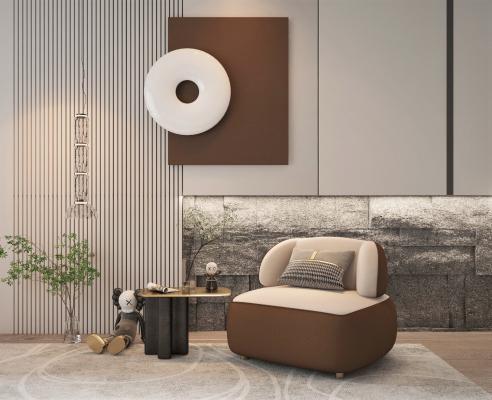 現代風格單人沙發 邊幾 墻飾