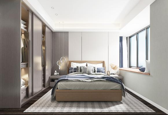 现代卧室 吊灯 双人床