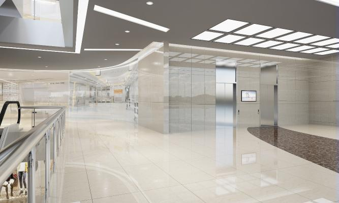 现代商场 电梯护栏 楼梯 店铺