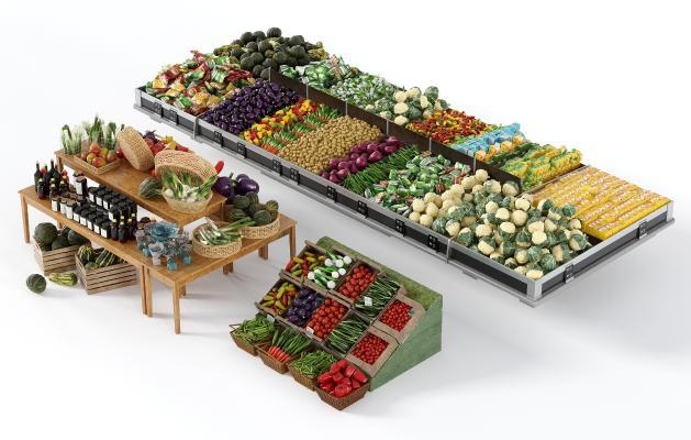 现代蔬菜水果架 蔬菜水果组合 超市货架
