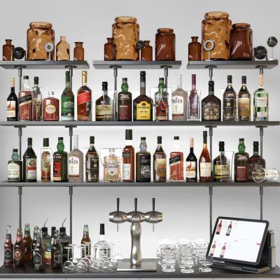 现代红酒 洋酒 酒杯 酒瓶 酒架