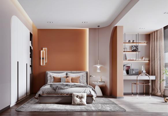 現代風格臥室 床 邊幾