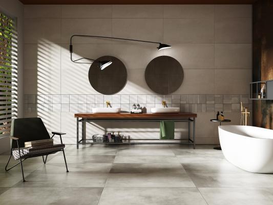 现代卫生间浴缸洗手盘单椅