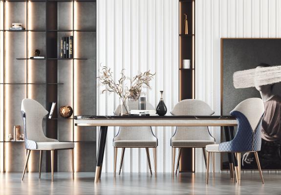 现代餐桌椅组合 背景墙 装饰摆设