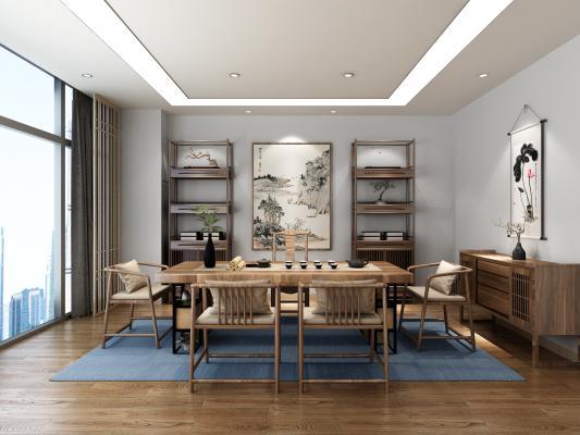 新中式茶室 茶桌椅 边柜